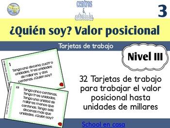 Spanish Place Value Task Cards to Thousands   Tarjetas de valor posicional