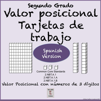 Spanish: Place Value-task cards for Math Centers- 2nd Grade 2.NBT.A.1/a/b