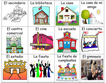 Spanish Places Flash Cards