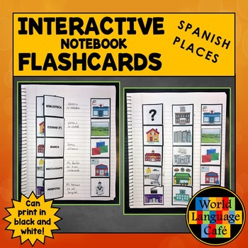 Spanish Places, Locations, Buildings Interactive Notebook Flashcards, Lugares