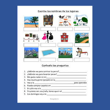 Spanish Places Los lugares Interactive Notebook Activity