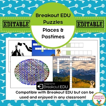 Spanish Places & Pastimes Breakout EDU Puzzles