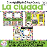 Spanish Places in the City EL CENTRO Vocabulary Digital Boom Cards with Audio