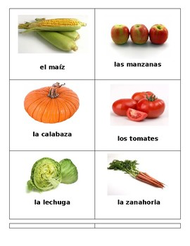 Spanish Plant Cycle and Food Memory Game