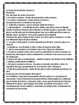 Plate Tectonics Notes written in Spanish and English