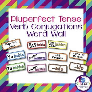Spanish Pluperfect Tense Verb Conjugations Word Wall & Bul