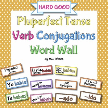 Spanish Pluperfect Tense Verb Conjugations Word Wall {HARD GOOD}