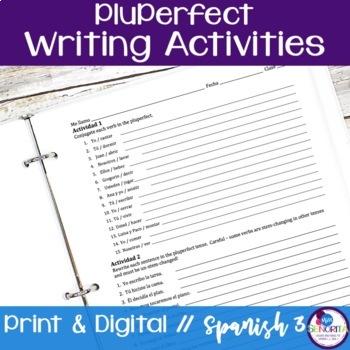 Spanish Pluperfect Verbs Writing Activities