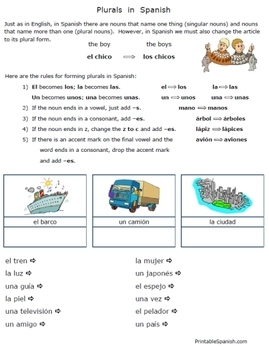 Spanish Plurals worksheets