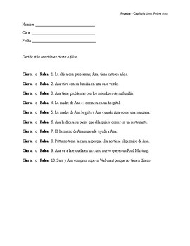 Spanish: Pobre Ana - Chapter 1 Questions