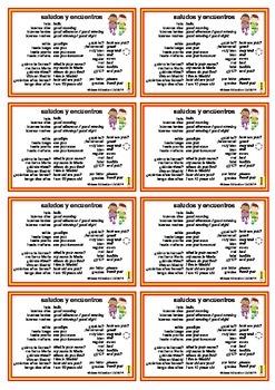 Spanish Pocket Cards - set 1