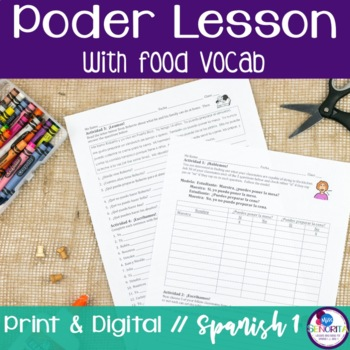 Spanish Poder Lesson with Food Vocabulary