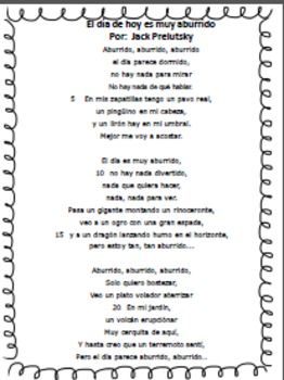"Spanish Poem ""Aburrido"" with STAAR formatted Exam/Activities"