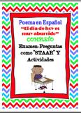 "Spanish Poem ""Aburrido"" with STAAR formatted Exam/Activities"