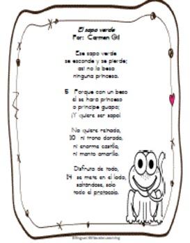"Spanish Poem-""El Sapo Verde"" Complete-No Prep Needed!"