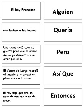 Spanish Poem:  The Glove and the Lion Poem Test Selection