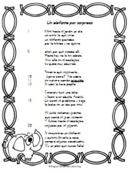 """Spanish Poem-""""Un elefante por sopresa"""" NO prep needed just print and go!"""