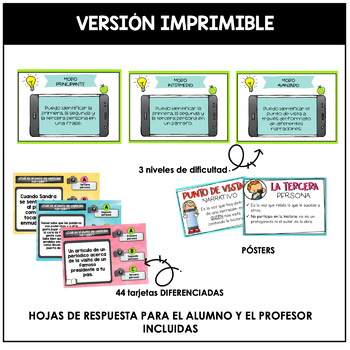 Spanish Point  of view Task Cards (El punto de vista narrativo)