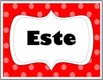 Spanish Cardinal Directions Signs - Polka Dot Classroom Decor