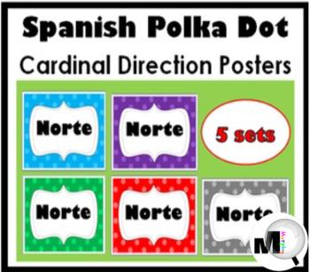 Spanish Cardinal Directions Posters – Polka Dot Classroom Decor