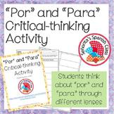 Spanish - Por and Para - Critical-thinking Activity