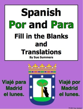 Spanish Por and Para Fill in the Blanks and Translations Worksheet