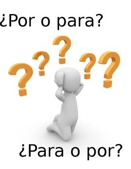 "Spanish ""¿Por o para?"" Practice Worksheets"
