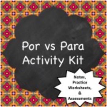 Spanish Grammar:  Por vs Para Activity Kit