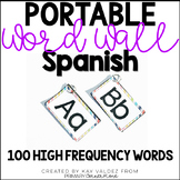 Spanish Portable Word Wall-100 High Frequency Words-EDITABLE (Rainbow)