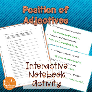 Spanish Position of Adjectives Activity