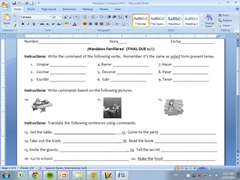 Spanish Mandatos Familiares Homework Pack