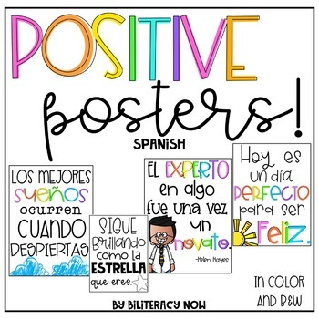Spanish Positive Posters Rainbow Style Black White Included