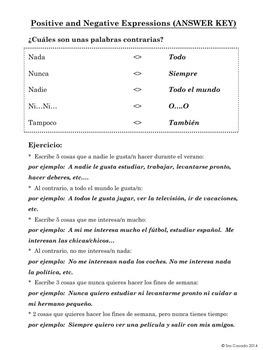 Spanish: Positive and Negative Expressions (Todo, Nada, Siempre, Nunca, etc)
