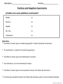 Spanish: Positive and Negative Expressions (Todo, Nada, Siempre, Nunca, etc)