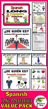 Spanish Long Possessive Adjectives and Pronouns VALUE PACK