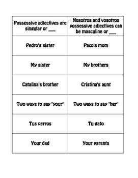 Spanish Possessive Adjective Buzz Game