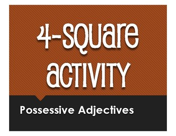 Spanish Possessive Adjective Four Square Activity