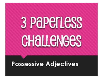 Spanish Possessive Adjective Paperless Challenges