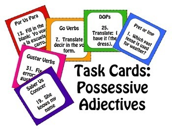 Spanish Possessive Adjective Task Cards