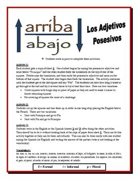 Spanish Possessive Adjectives Activities (Speak, Read, Listen, Write)