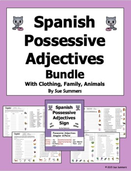 Spanish Possessive Adjectives Bundle of 4 Worksheets and Sign by ...