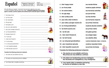 Spanish Possessive Adjectives Bundle of 4 Worksheets and Sign