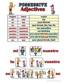Spanish Possessive Adjectives Grammar Notes