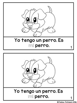 Spanish Possessive Adjectives Animals Reader & Build-A-Book #2