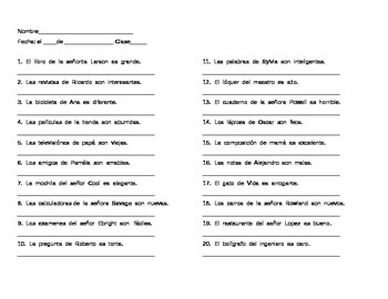 Spanish Possessive Adjectives Sentence Translation