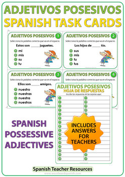 spanish possessive adjectives task cards adjetivos posesivos tpt. Black Bedroom Furniture Sets. Home Design Ideas