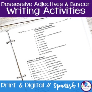 Spanish Possessive Adjectives with Buscar writing exercises