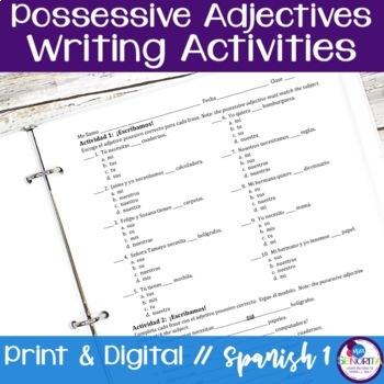 Spanish Possessive Adjectives writing exercises