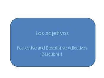 Spanish Possessive and Descriptive Adjectives Grammar Whit