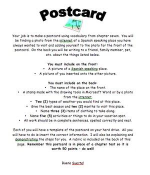 spanish postcard by r hards teachers pay teachers